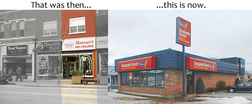 a photo of the first Housser's store and the current store as it is today
